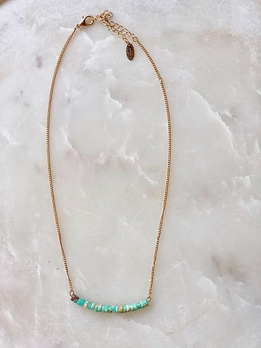 Gold/Mint Beads Necklace