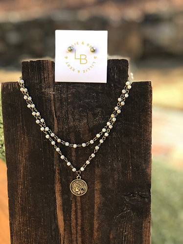 Double Layer Beaded Coin Necklace