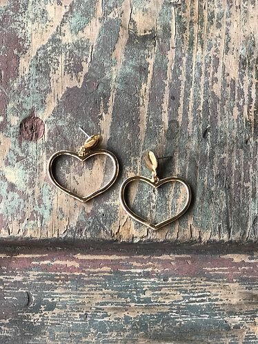 Gold Dangle Heart Earrings