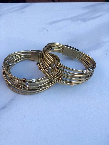 Gold Bead Multi Strand Bracelet