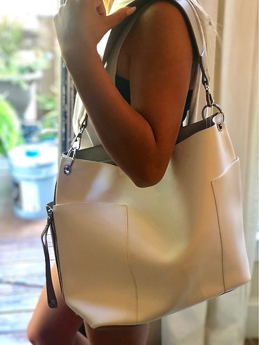 White/Taupe Multi Pocket Bag
