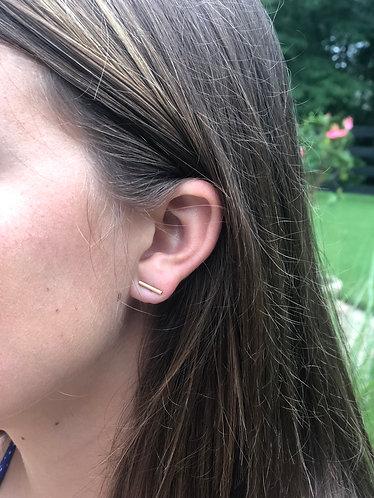 Tiny Gold Bar Earrings