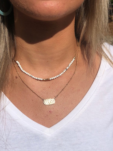 Double Layer Gold/White Bead Necklace