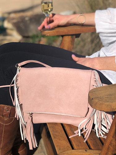Misha Pink Fringe Messenger Bag