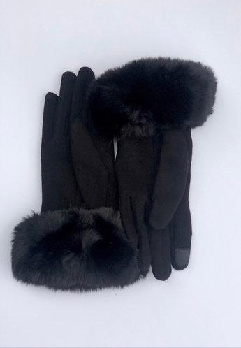 Black Faux Fur Trim Touch Screen Gloves