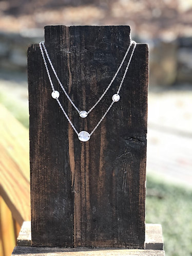 Double Layer Silver Disc Necklace