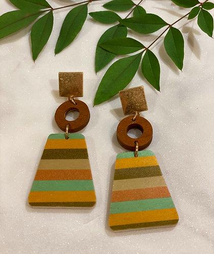 Wooden Multi Shape Dangle Earrings