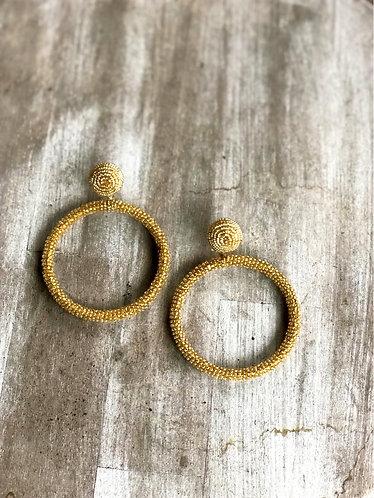 Gold Beaded Round Hoop Earrings