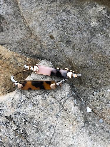 Gold/Silver Cellulose Tortoise Cuff Bracelet