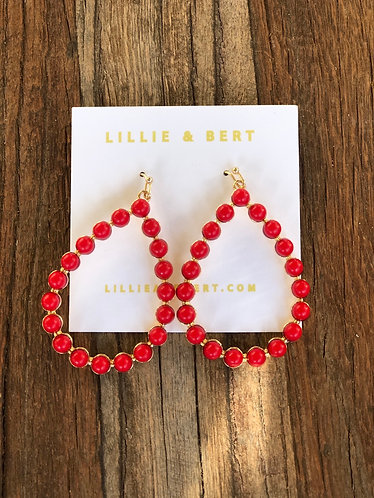 Red Stone Pearl Drop Earrings
