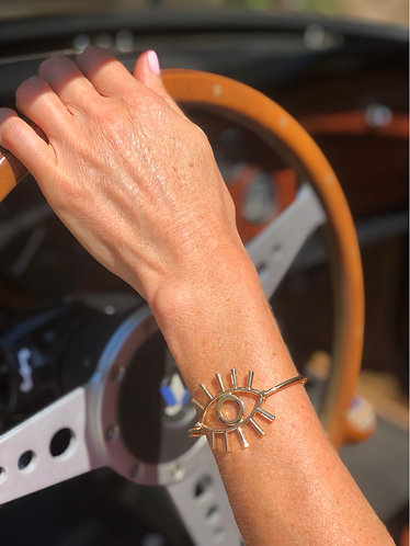 Gold Evil Eye Cuff Bracelet