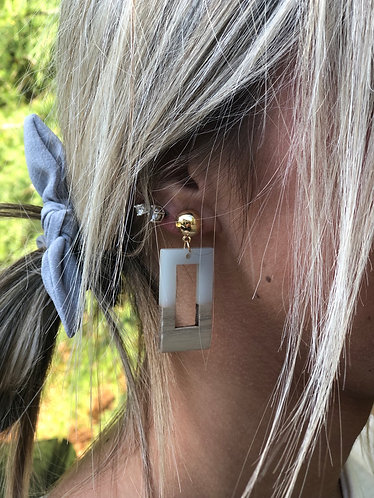 Hollow Rectangle Wood/Gray Acrylic Earrings