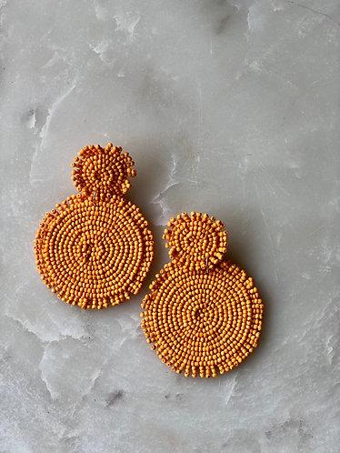 Orange beaded Round Drop Earrings