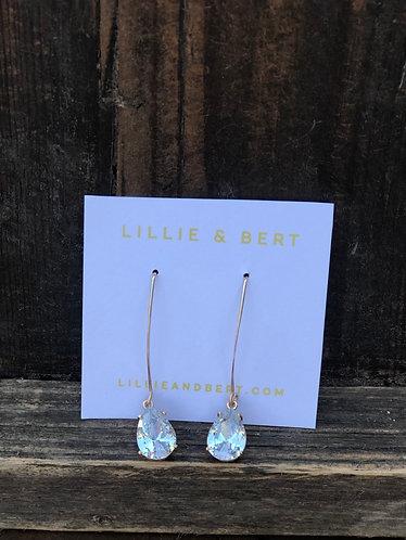 Gold Pear Drop DiamondLike Earrings