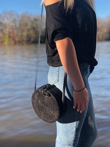 Hampton Black Round Ratan Bag