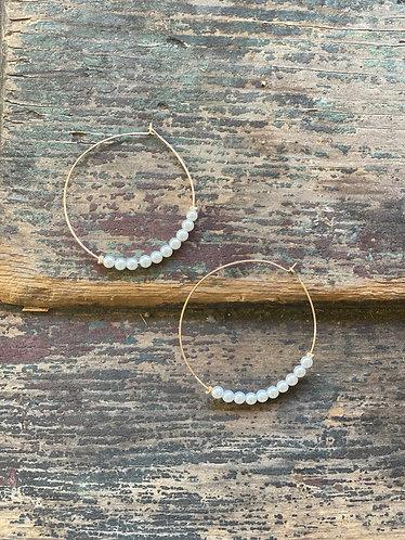 Dainty Gold Pearl Hoops