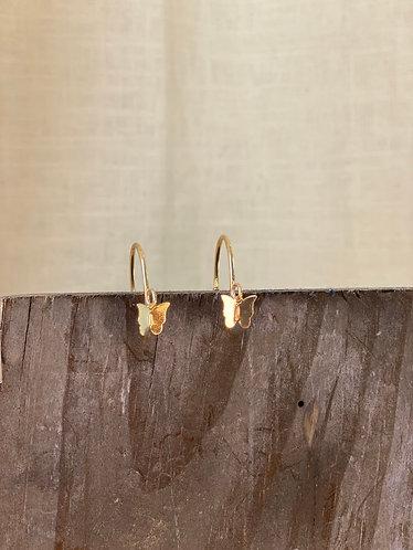 Gold Butterfly Hoop Earrings