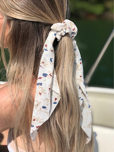 Wild Flower Print Hair Scrunchie Scarf