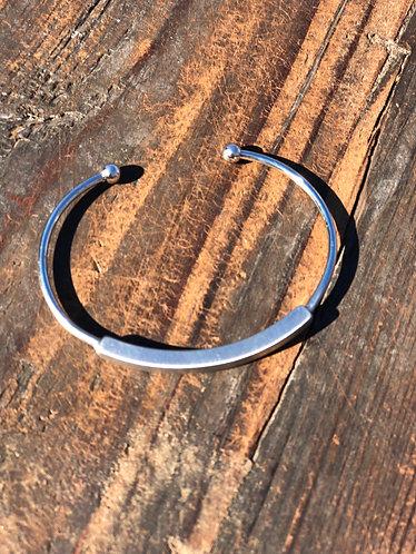 Silver Metal Thin Cuff Bracelet