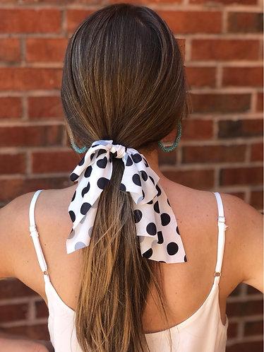 Black/White Polka Dot Short Hair Scarf