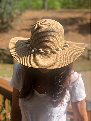 Tan St. Lucia Beach Hat with Cowrie Shells