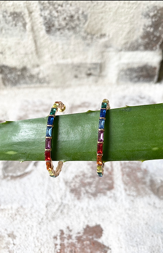 Multi colored Stone Hoops