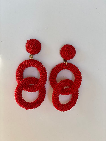 Red Bead Double Circle Earrings