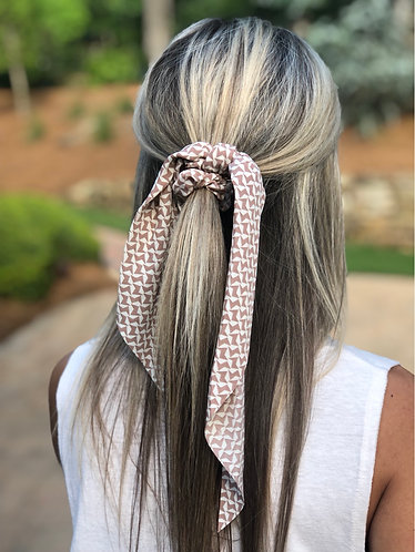 Tan/Light Brown Designed Scrunchie Scarf
