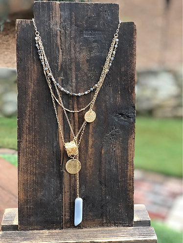 Gold Cube & Stone Layered Necklace