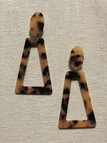 Large Acrylic Trapezoid Tortoise Earrings