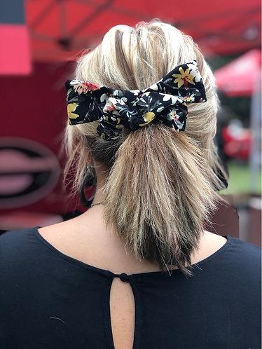 Black Floral Hair Scrunchie w/ Bow