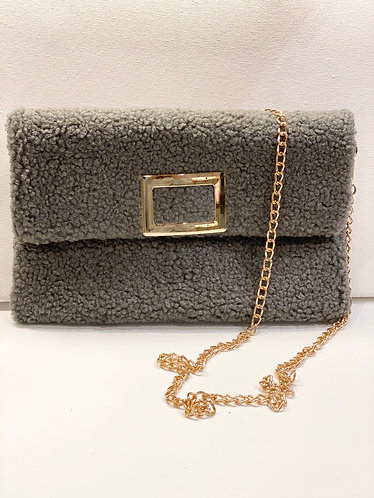 Gray Rosemary Buckle Clutch