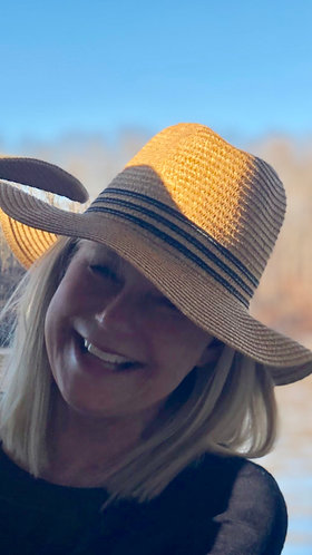 Tan Straw Hat With Navy Bands