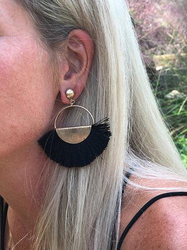 Black Wide Fan Tassel Earrings