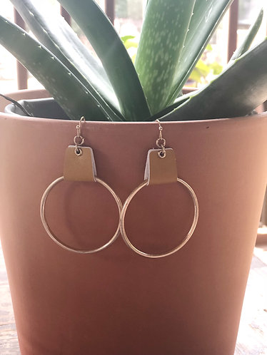 Mustard Leather Strap Gold Hoops