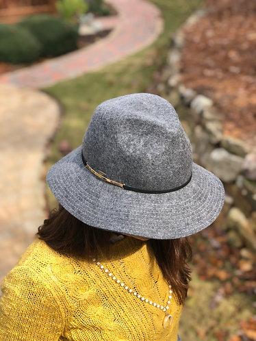 Grey Wool Felt Safari w/ Metal Hat