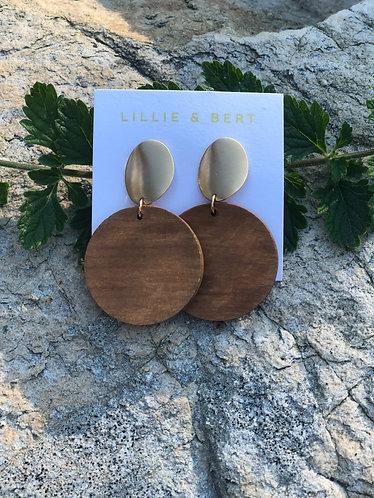 Round Wooden Drop Earrings
