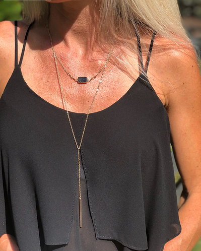 Gold Double Layer Black Stone Y Necklace W/earrings
