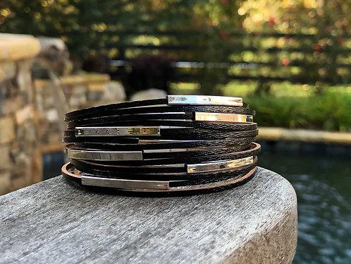 Black Beaded Multi Strand Magnetic Bracelet
