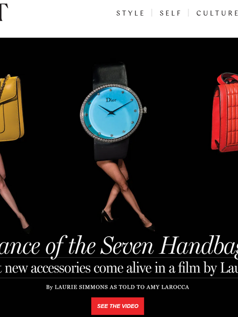 """laurie simmons photo shoot """"Dance of the Seven Handbags"""""""