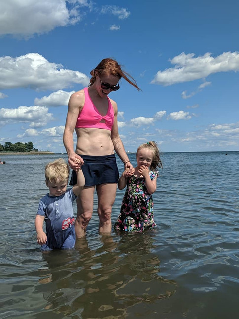 Nili with her children in the Long Island Sound