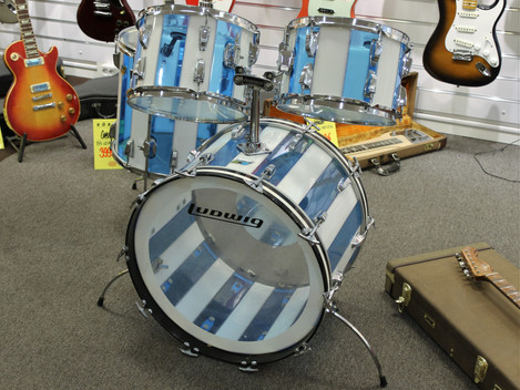 Begagnad urfint Gibson Viastalite Blue/White Stripe från mitten av 70-talet, 29999:-