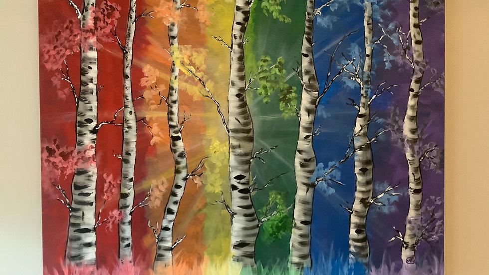 Colorful Birch Tree Canvas 30x40