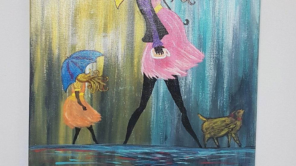 Rainy Baby shower Canvas 16×20
