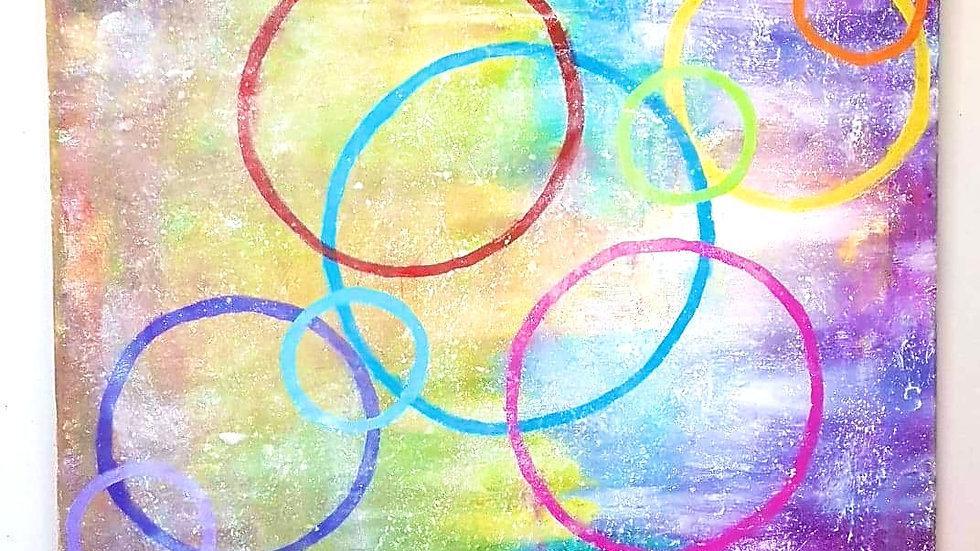 Colorful Circles canvas 18x24