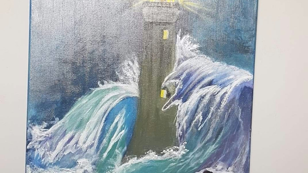 Stormy lighthouse  painting Canvas 16x20