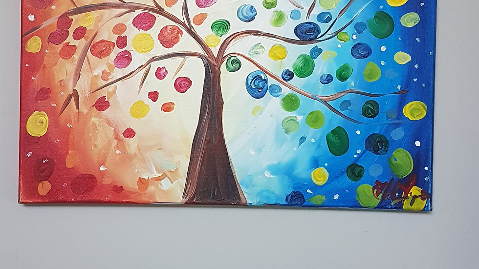 Sunset Colorful Tree Canvas 16x20