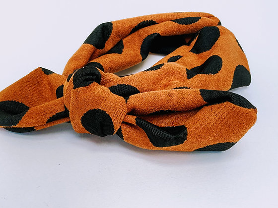 Presse Papier Ciseau - Serre tête en suédine brun et gros pois noir avec noeud