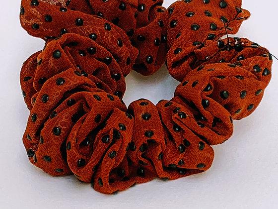 Presse Papier Ciseau - Chouchou voile brun et petit pois noir en silicone