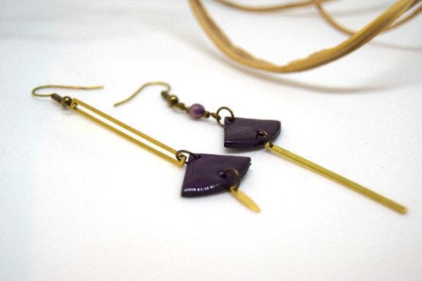 Atelier de Lynie - Boucle d'oreilles asymétriques purple